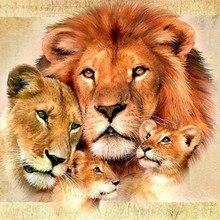 Lion Family Diamond Painting Cross Stitch Diamond Embroidery Europe Home Decoration Square Shape Animal Series Decor Sticker