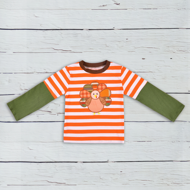 8ce4c788d Thanksgiving Holiday Children Orange StripedClothing Costume Turkey  Embroidery Pullover T-shirt Fashion Girls Outfits BSY807-042