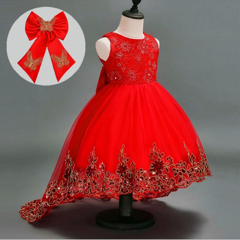 LCJMMO Flower Girl Dress Red Mesh Trailing Butterfly Girls Dama de - Ropa de ninos - foto 2