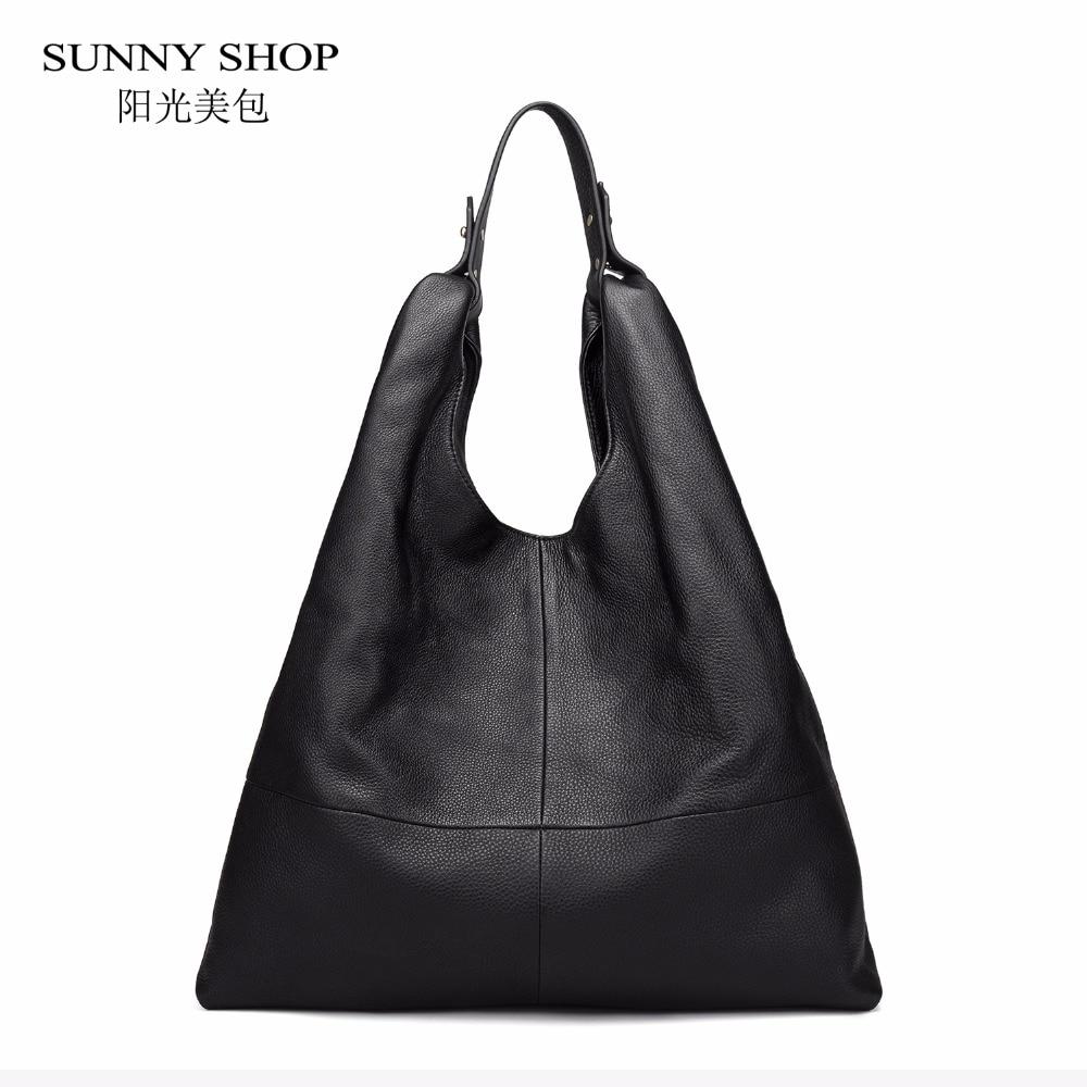 SUNNY SHOP Brand Designer 100% Luxury Genuine Leather Hobo Bag Large Original Leather Shoulder Bags Stylish Fashion Bag Elegant недорго, оригинальная цена