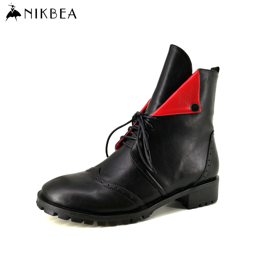 Nikbea Handmade Lace Up Boots Punk Women Ankle Boots Flat 2016 Autumn Shoes Winter Boots Women Booties Shoes Botines Mujer Pu front lace up casual ankle boots autumn vintage brown new booties flat genuine leather suede shoes round toe fall female fashion