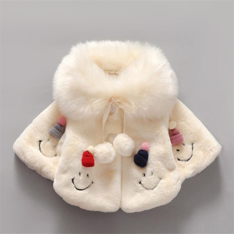 2016 stylish design baby girl faux fur coat lovely Smiling face pattern Cloak for autumn and winter warm princess outerwear