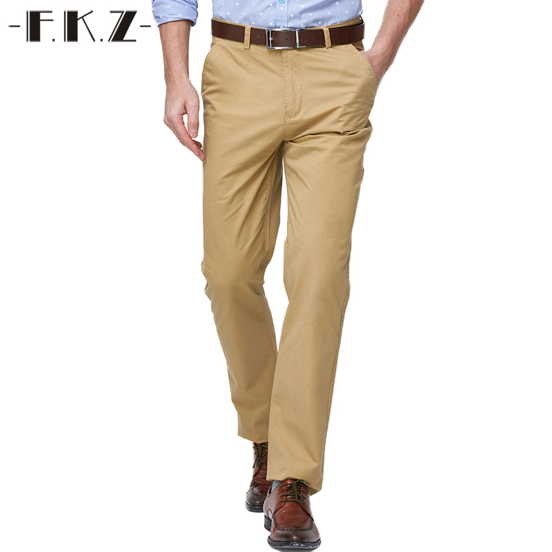 FKZ Mens Pants Brand Spring Summer Formal Cotton Casual Straight Suits Long Khaki Pants Elastic ...