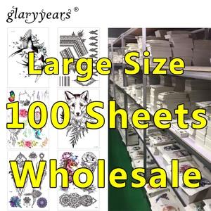 Image 1 - 100 штук, оптовая продажа, тату наклейки на тело с цветами, на руку, Классические рыбы, дракон, тотем, дизайнерские временные тату наклейки для женщин