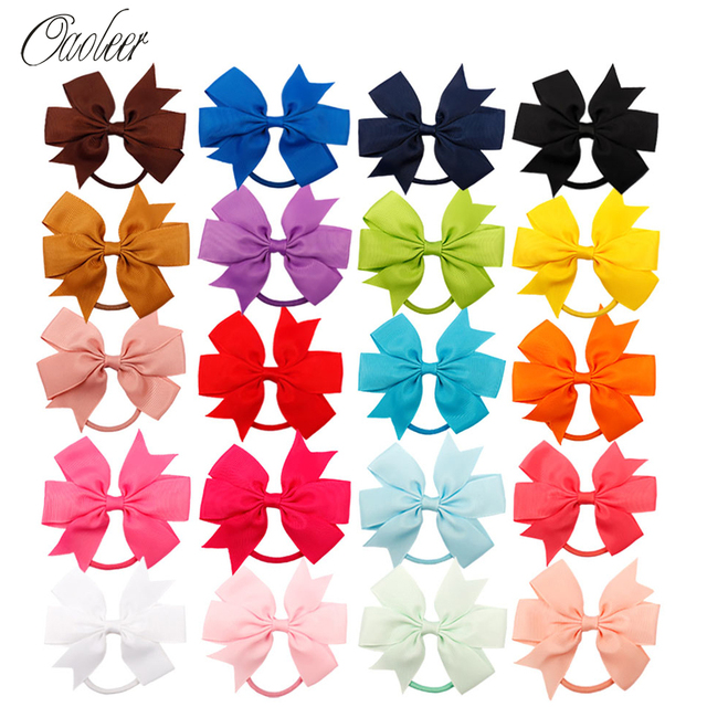 Oaoleer Hair Accessories 4 Inch 20 Pcs/Lot Hair Bands for Girls Swallow Tail Grosgrain Ribbon Hair Holders for Kids Hairbands