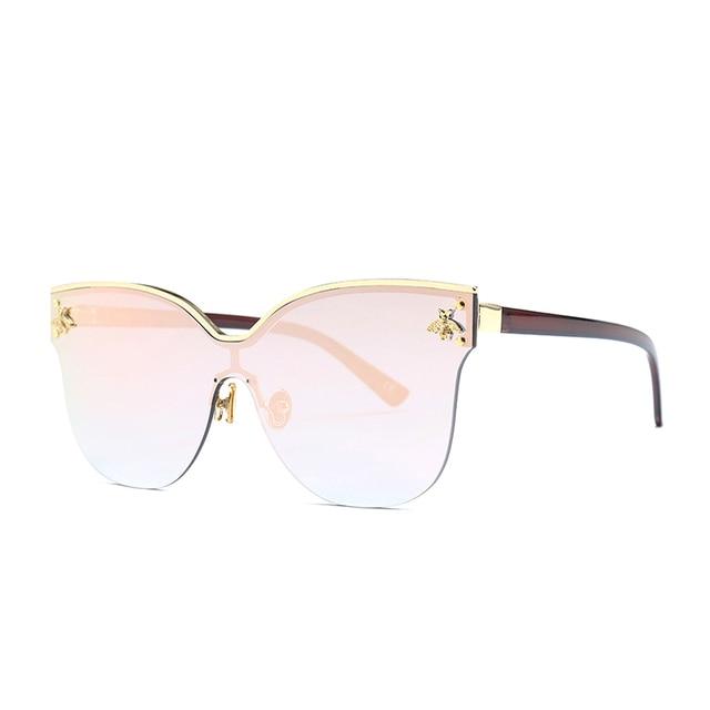 ladies Oversize Rimless Sunglasses Women 2018 Fashion Cat Eye Bee Sun Glasses Female Retro Brand Designer lentes de sol mujer 3