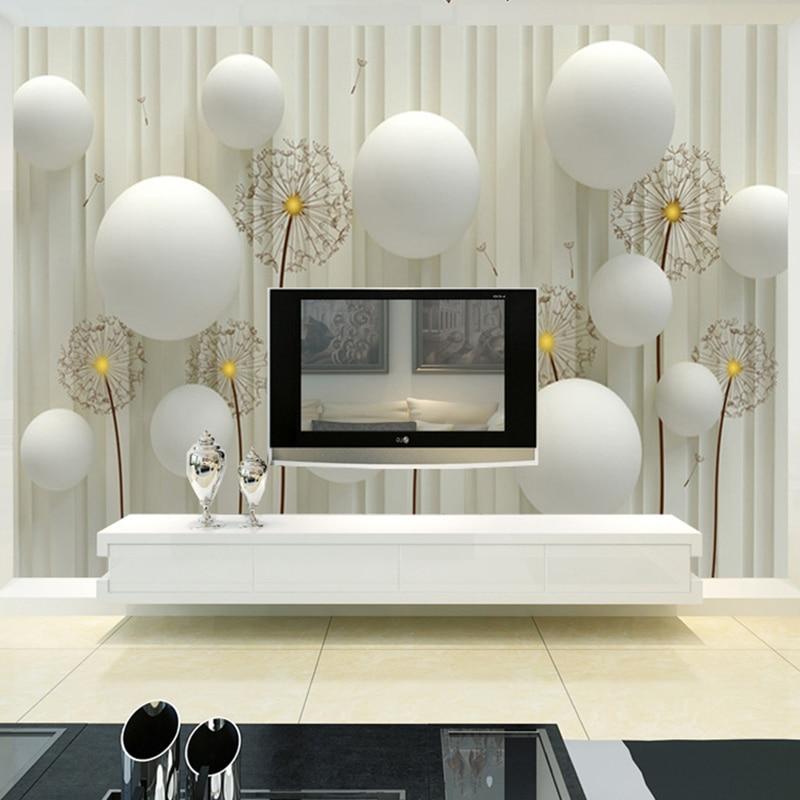 Custom Photo Mural Modern Creative Art 3D Stereo White Ball Wall Paper For Living Room TV Sofa Background Wall Simple Home Decor