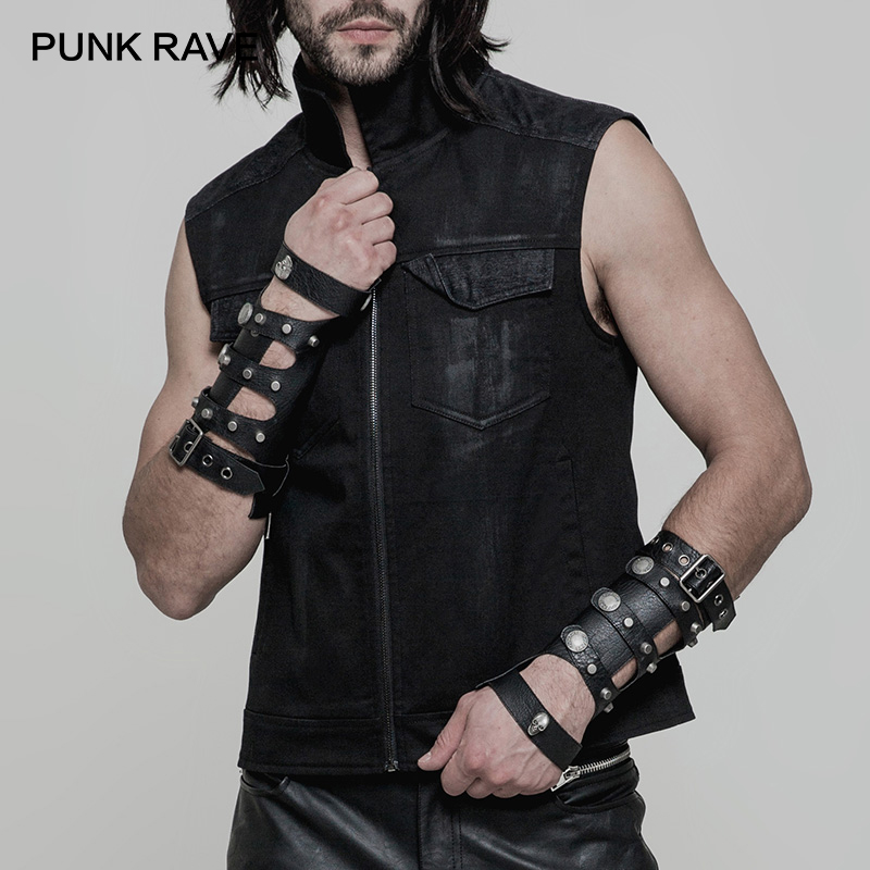PUNK RAVE Punk Skull Hollow Loop Adjust Buckle Men Leather Gloves Dieselpunk Fingerless Military Motocycle Arm