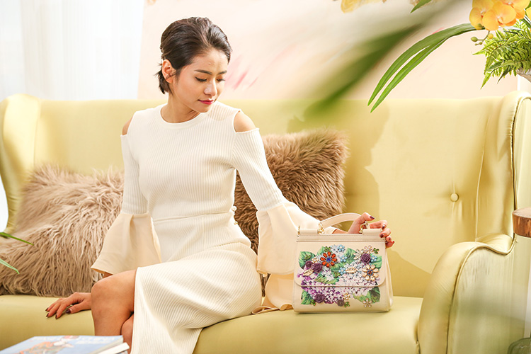 Luxury Designer Inspired Women Handbag Real Leather Embellishments Hydrangea Printed Mini Leather Shoulder Bag (3)