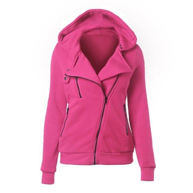 Autumn Winter Fashion Zipper Hooded Jacket Outerwear Coats Warm Women Long Sleeve Hoodies Sweatshirts