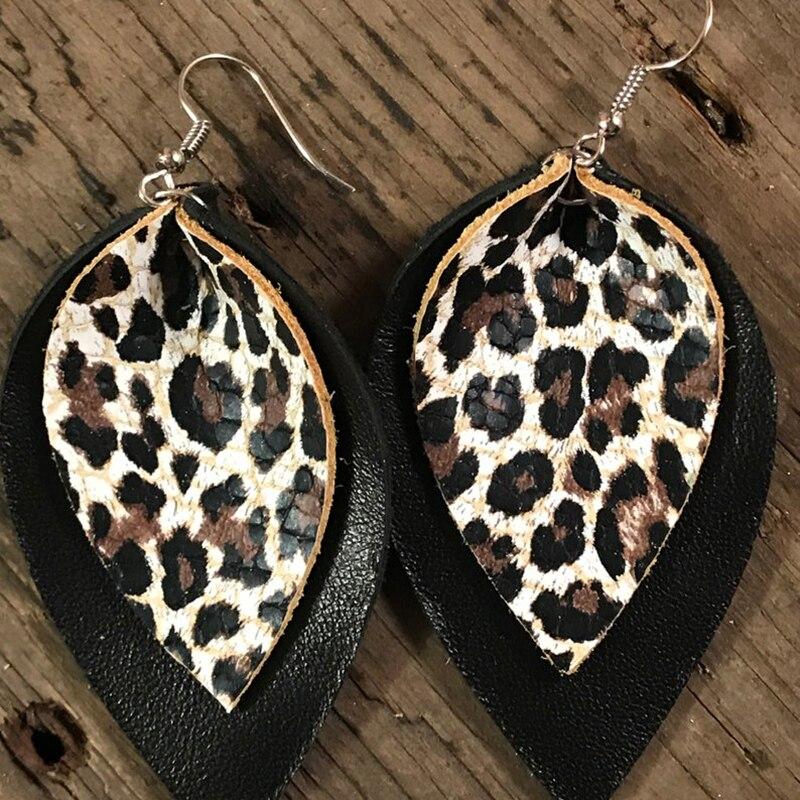 Doble capa Glitter oro leopardo imprimir cuero lágrima pendientes Animal imprimir hoja grande pendientes regalo del Día de San Valentín