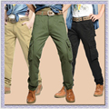 2015 Fashion Men's Cotton Cool Casual Cargo Pants Military Style Army Cargo Camo Combat Work Pants  Trousers Black Green