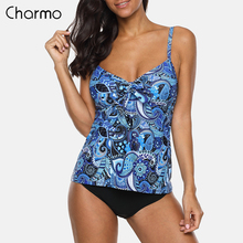 Charmo Women Two Piece Tankini Set Swimwear Vintage Floral Print Swimsuit Tied Bikini Bathing Suit Beach Wear