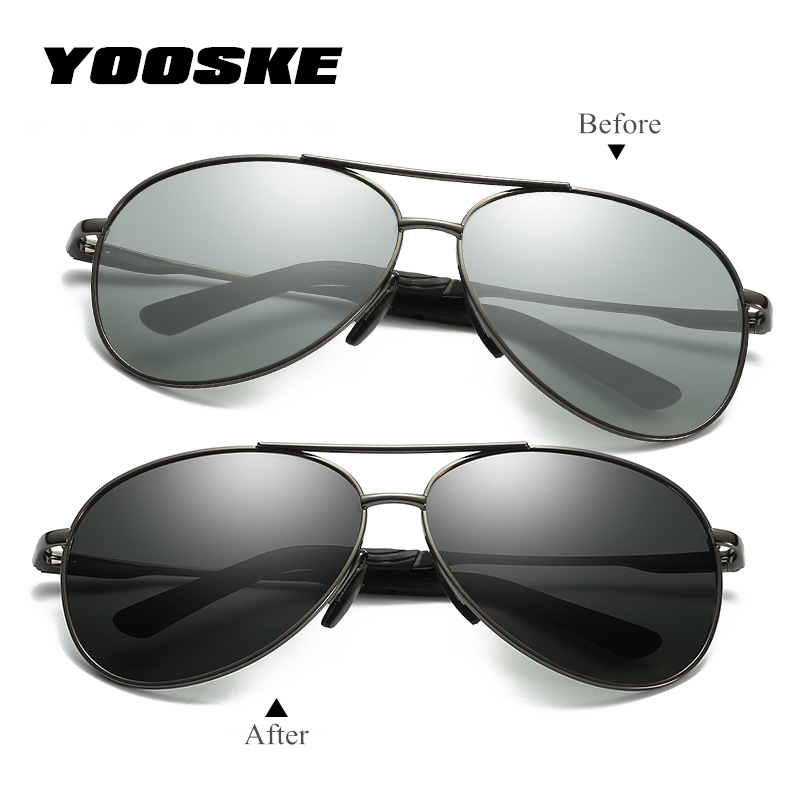 YOOSKE Photochromic Sunglasses Men HD Po