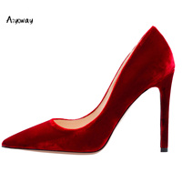 Aiyoway Women Shoes Pointed Toe High Heels Pumps Autumn Spring Party Wedding Shoes Slip On Velvet women heels Black Red Blue