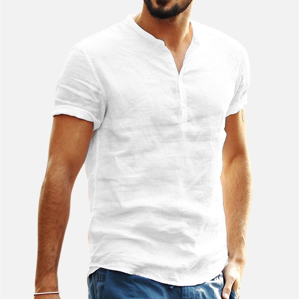 Men Clothes 2019 Men's Baggy Cotton Linen Solid Color Short Sleeve Retro T Shirts Tops Blouse V Neck T Shirt S-XXL