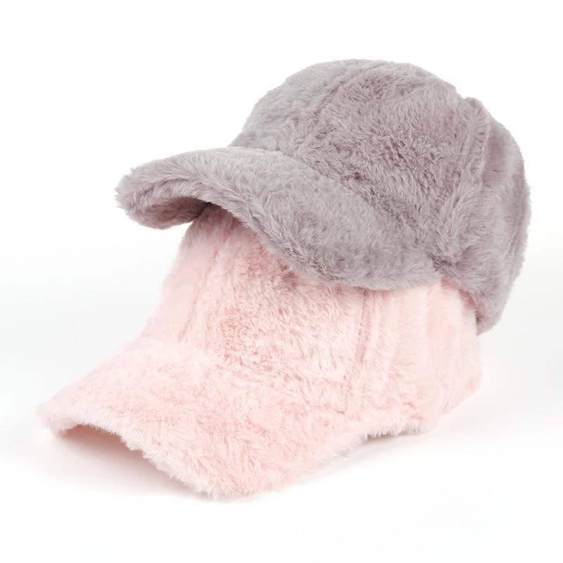 VORON Winter pompom pink suede   baseball     cap   Women autumn casual streetwear pin'k hat   cap   2017 Elegant female hat   cap