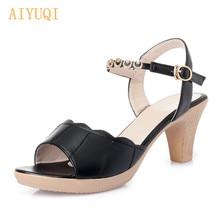 AIYUQI Sandals female 2019 new summer sandals women open toe high heel roman style Breathable rhinestone shiny