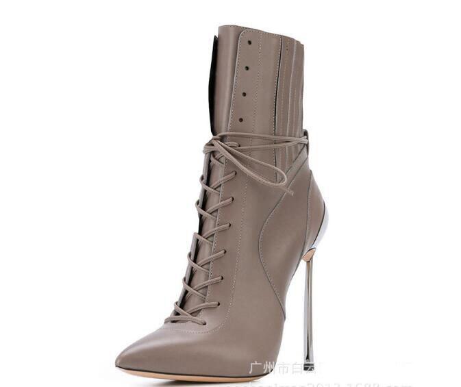 84d98c8e7ae6 Noir Bout Véritable Mode Femmes Gris gris Pointu Mince Automne Talons 42 D hiver  Cheville Chaussures En Gland Bottes Noir Cuir ...