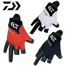 1 пара Daiwa DG-6400 Рыболовные перчатки Три или пять пальцев разреза Водонепроницаемая кожа из неопрена Противоскользящие скальные люди Перчатки для рыбалки Pesca