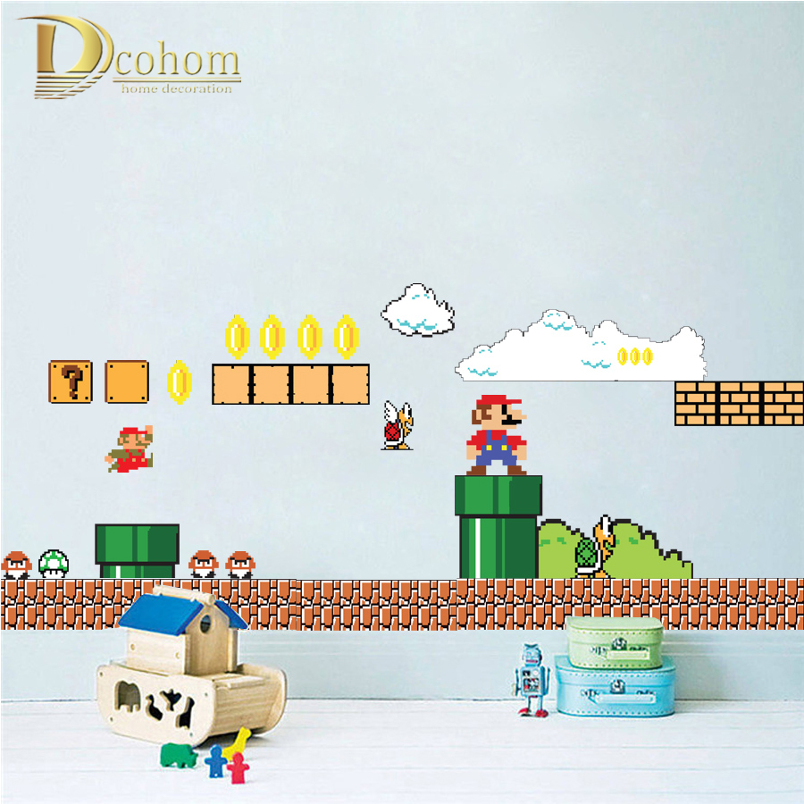Home supermario games supermario wallpapers - Removable Cartoon Super Mario Bros Wall Stickers For Kids Rooms Bedroom Home Decor Vinyl Poster Wallpaper