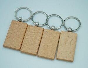 Image 4 - 60pcs ריק מלבן עץ מפתח שרשרת DIY קידום מותאם אישית עץ מחזיקי מפתחות מפתח תגיות קידום מכירות מתנות