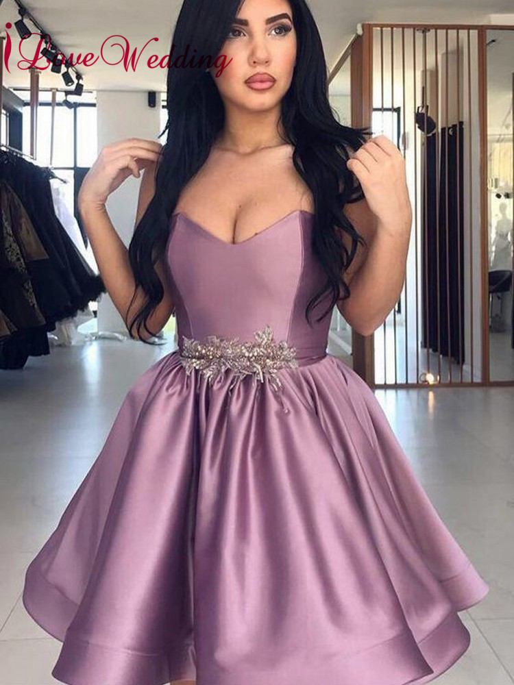 2019 New Arrival Mini   Cocktail     Dresses   Sweetheart Purple Satin Waist Beaded Custom made Short Party Gown
