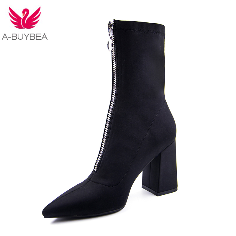 Teahoo 2019 Black Knitting Women Sock Boots Stretch Fabric