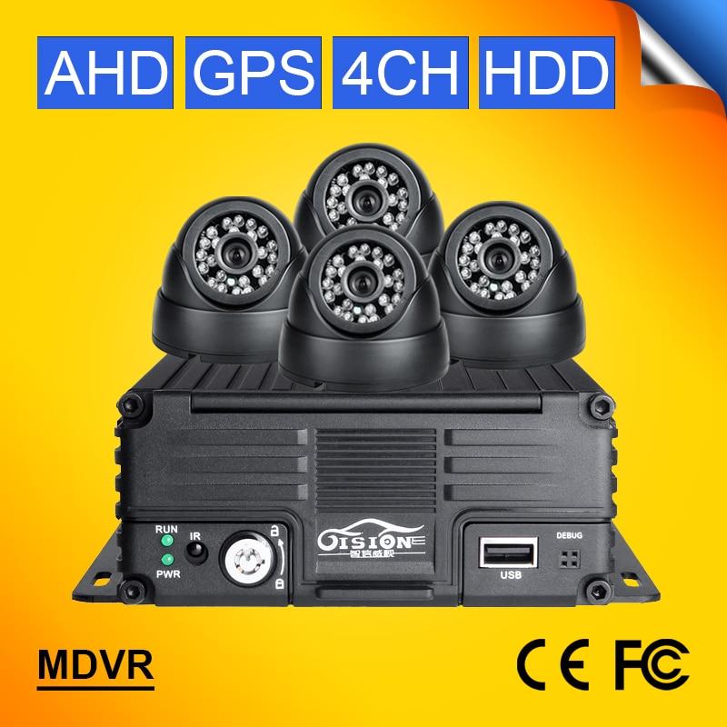 GPS HDD Hard Disk H.264 4CH 720P AHD Mobile Video Dvr Recorder Kits 4Pcs Indoor Night Vision Bus Taxi Camera Car Dvr G-sensor