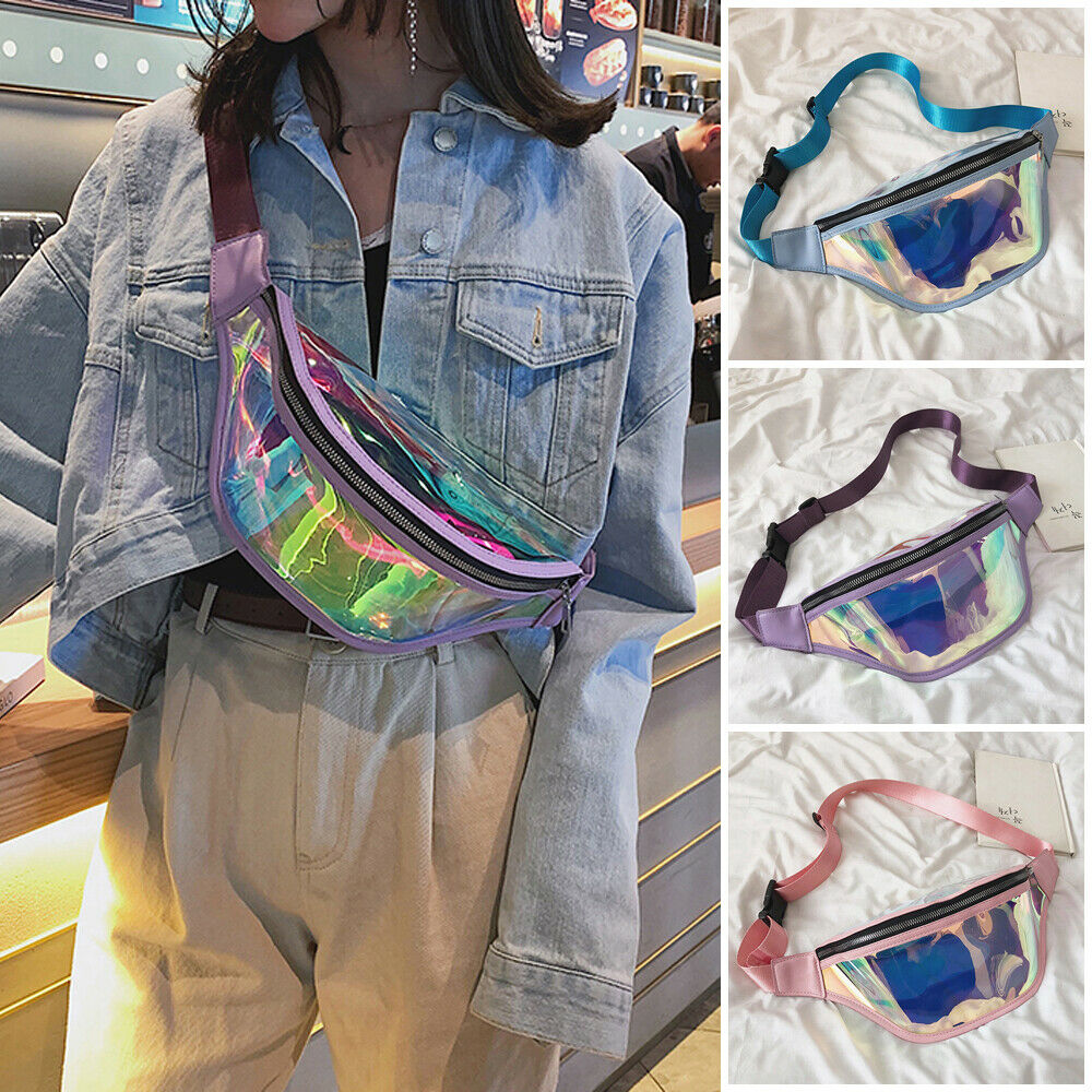 Fashion Women PVC Holographic Fanny Pack Travel Waist Bag Laser Purse Shoulder Chest Bag Sport New Large Capacity Waist Packs