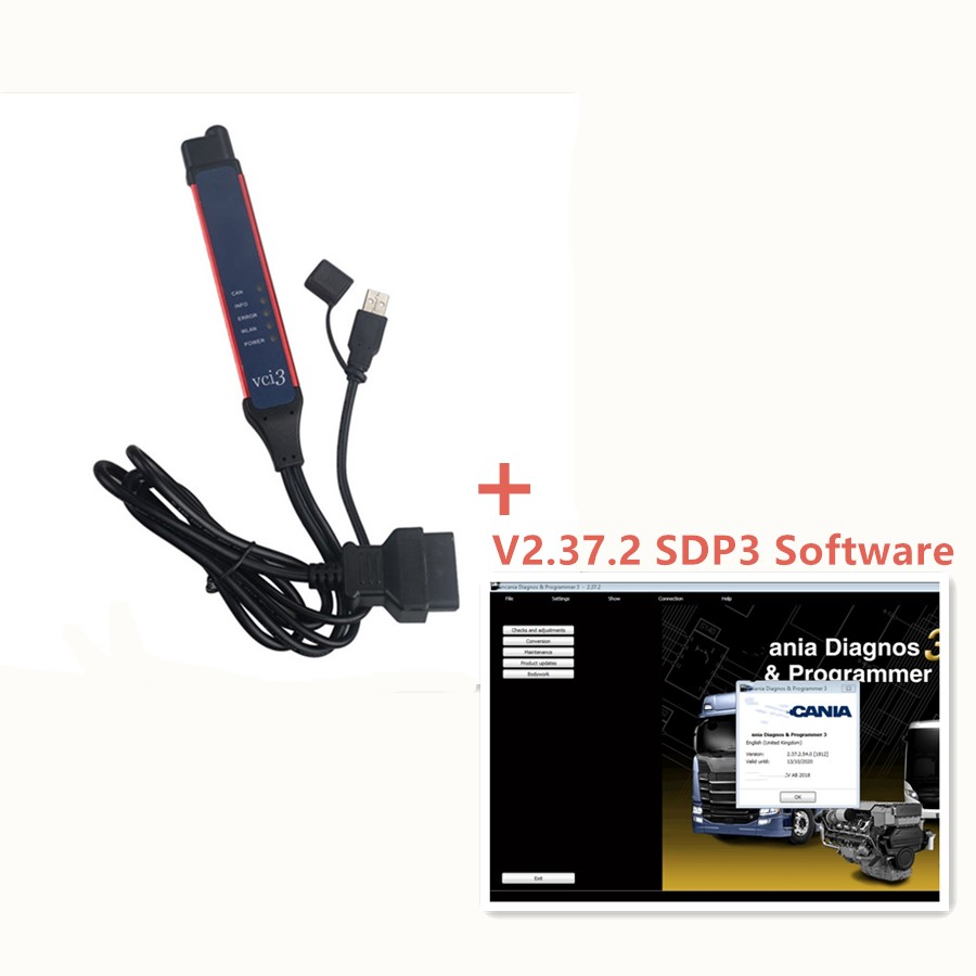 Беспроводной диагностический WIFI сканер V2.37 VCI-3 VCI3 SDP3 для ГРУЗОВИКОВ Scania