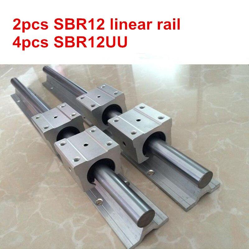 2 pcs SBR12-200 250 300 350 400 450 500mm rail linéaire guide + 4 pcs SBR12UU bloc
