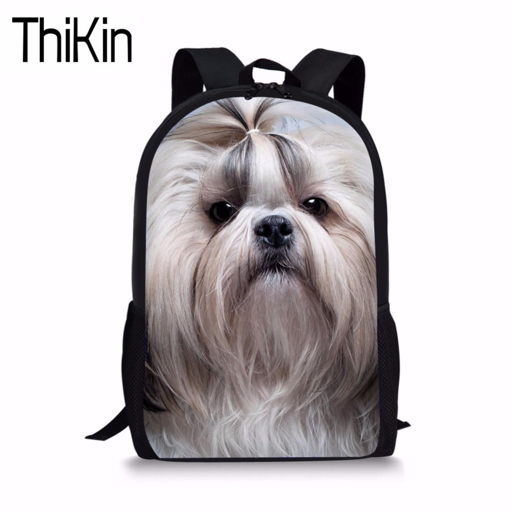 THIKIN School Bags Cute Dog Print Children Backpack for Kids Girls Primary Schoolbag Student Bookbag Campus Rucksack Mochila