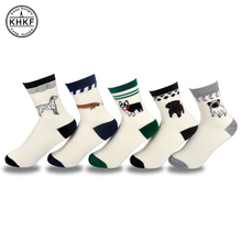 2018 High Quality Cotton Women Men Cartoon Husky Pugs Faithful Dog Embroidery Socks Funny Cute Novelty