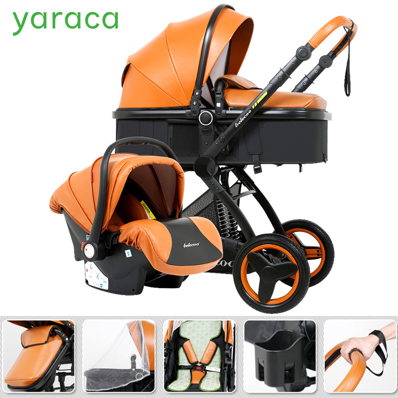 3 in 1 Luxury Baby Stroller Set Folding Baby Carriage For Newborns Travel System Sitting Lying 2 in 1 Baby Trolley Prams For Kid baby stroller high landscape trolley baby car wheelchair 2 in 1 prams for newborns baby portable bassinet folding baby carriage