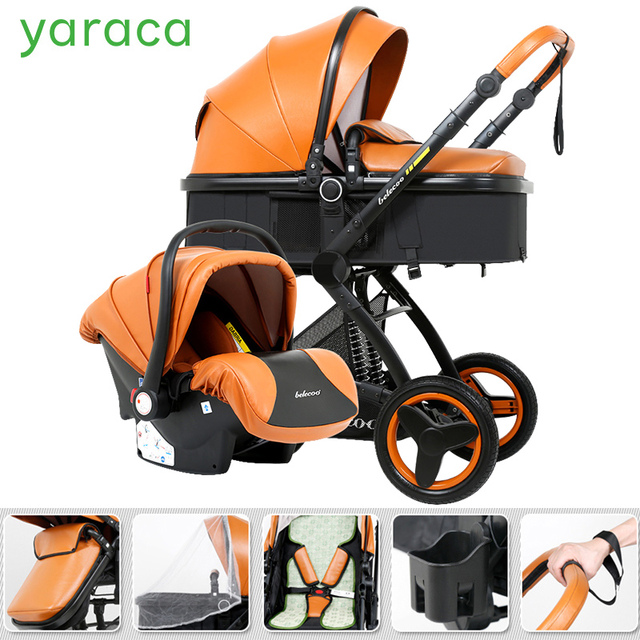 Luxury Baby Stroller 3 In 1 With Car Seat High Landscape Pram For