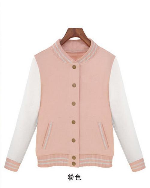 Nvren Jia College Wind Baseball Cardigan Sweater Coat
