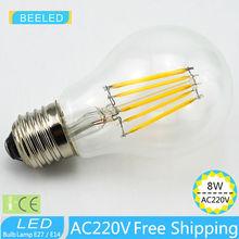 1 X  free shipping  2700k LED Edison Bulb Indoor LED Light Clear Glass AC 220V E27 A60 110V CE 2W 4W 6W 8W LED Filament BULB эра f led a60 e27 7w 220v 2700k