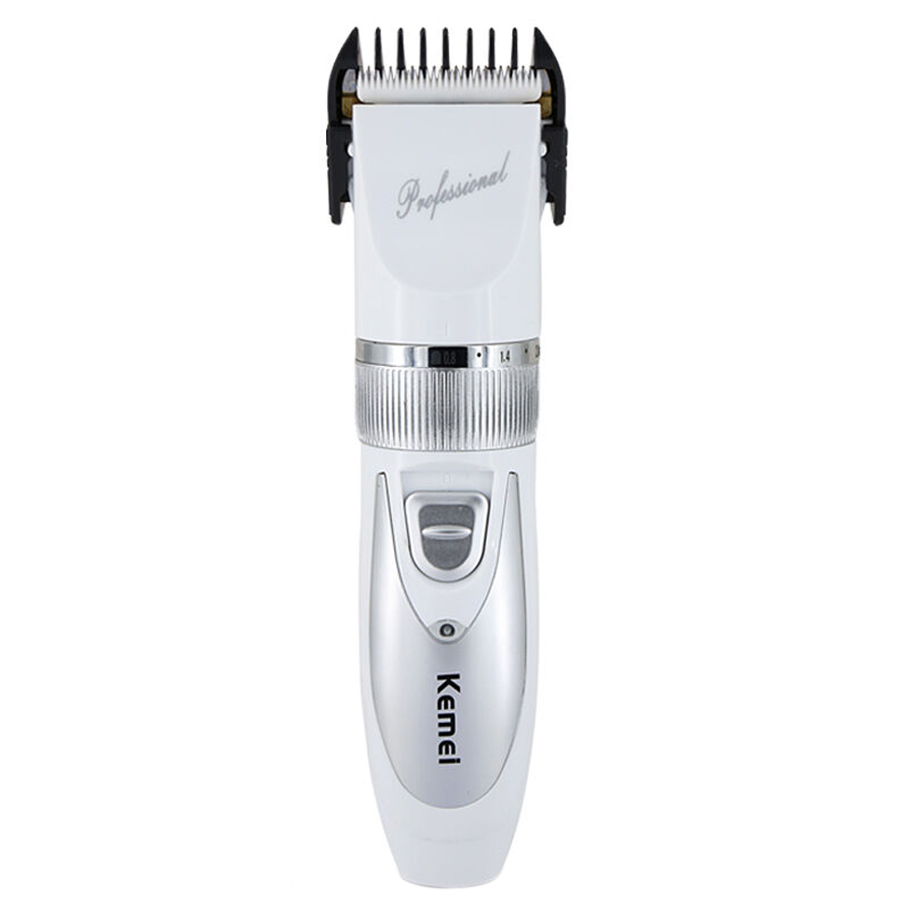 110V-220V + Extra Battery , Titanium Blade Kemei Professional Hair Trimmer Electric Hair Clipper Cutting Machine Shearer 100 240v extra battery lcd tungsten steel blade hair trimmer electric hair clipper cutting machine shearer trimmers c 28