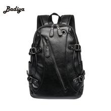 Mochila de couro retro masculino bolsa de livro de ombro preto designer mochila viagem dos homens mochilas mochila ipad caso