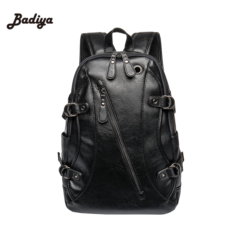 Retro Leather Men's Backpack Male Book Bag Black Fashion Designer Knapsack Travel Mens Backpacks Mochilas Para Ipad Case Mochila