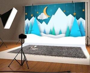 Image 2 - Laeacco bebé Comics montaña Luna estrella nieve fiesta patrón fondos fotográficos foto telón de fondo estudio fotográfico Photocall