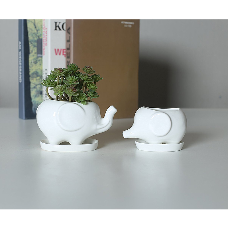 Sæt med 2 Cute Elephant White Ceramic Flower Pot med bakke til Succulents Cactus Planter Mini Pot Planter Home Garden Decoration