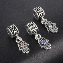 HOMOD Christmas Gift 1pc silver evil eye hand hanging bead charms fit european Brand style bracelet