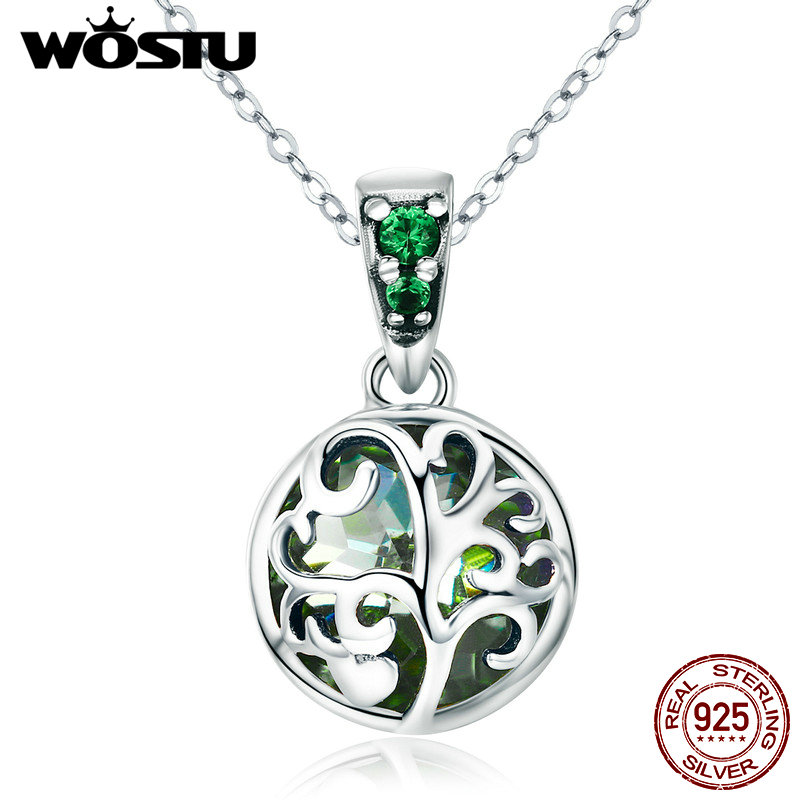 WOSTU Hot Sale 925 Sterling Silver Green Crystal Tree of Life Tree Leaves Pendant Necklace for Women Pure Silver Jewelry CQN197