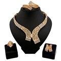 Conjuntos de joyas de oro africano plateó ahueca hacia fuera el collar y los pendientes establece clásico joyería nupcial conjuntos