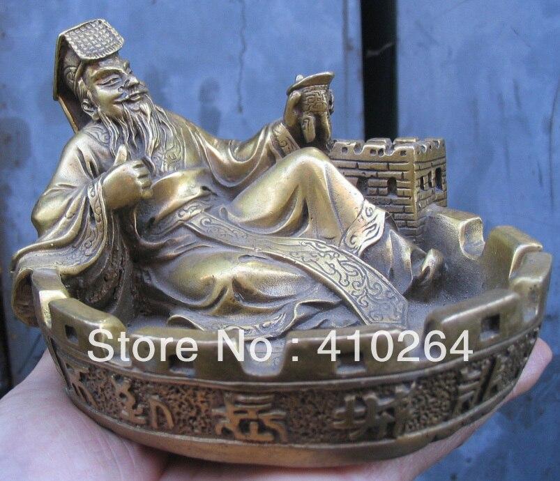 Beautiful Rare The Great Wall Qin Shi Huang Ashtray Bronze Statue Discount 30%