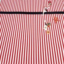 140×150 см Неделя моды красный, белый в полоску Красота дама с цветами Starfish полиэстер ткань для женщины летнее платье DIY-AF471