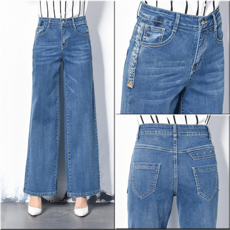 b5083e6b1a1 Free Shipping New Autumn Women Wide Leg Plus Size Jeans High Waist Big  Straight trousers Boot Cut Flares Pants Large Size 26 40-in Jeans from  Women s ...