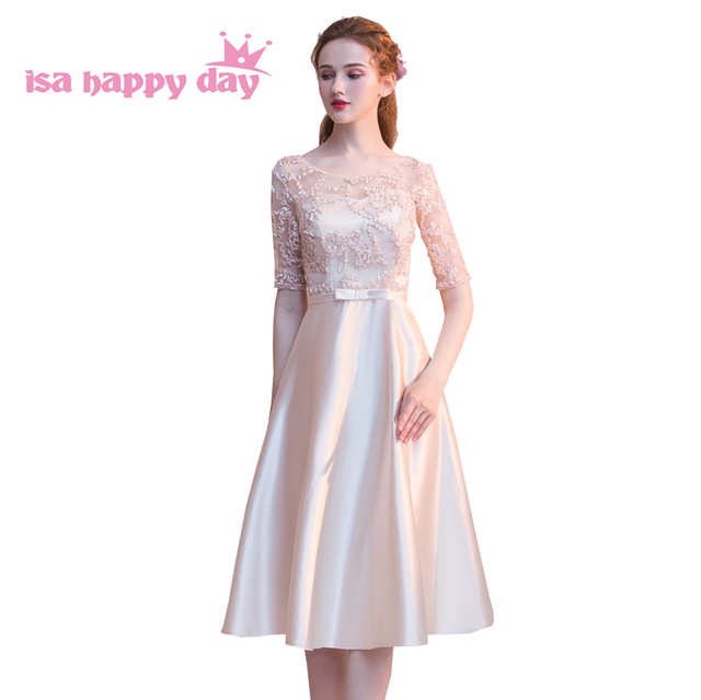 cheap formal sleeved o neckline champagne color bridesmaid dresses  bridesmaids dress satin ball gown for wedding guest H4254 2dbc0d5622b4